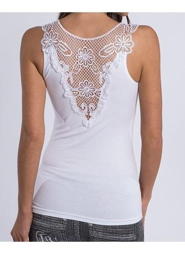 Lingabooms Sırtı V Dantel Bluz Beyaz